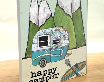 Travel Trailer Boler map art block print. Customize state map art. Happy Camper art print. Camper, Kayak, mountains.  Gift for camper.