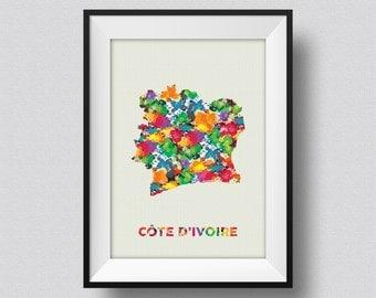 Cote D'Ivoire Watercolor Map Art Print Cote D'Ivoire Ink Splash Watercolor Poster Art Canvas, Ivory Coast Watercolor Map