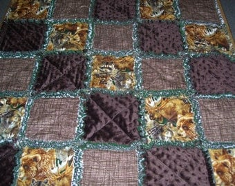 Baby rag quilt, rag quilt, wildlife quilt, wildlife blanket, wildlife baby bedding, baby quilt, wilderness baby quilt, minky baby quilt