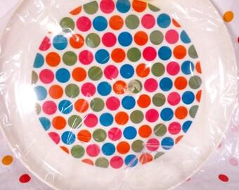 NEW Multi Polka Dot Tray by Deka plastics Mod Blue Orange Green Psychedelic