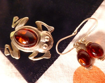 SILVER Amber Frog and Earrings SET Poland