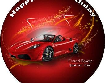 "Ferrari Personalised Pre Cut Icing/Premium Rice Paper Cake Topper 7.5"""