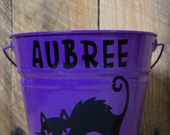 Metal 5 Quart Halloween Bucket; Black Cat; Cat; Scaredy Cat; Personalized; Candy Bucket; Trick or Treat; Name