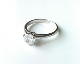 Ring Silver 925/000 - solitaire ring, engagement ring, zirconium - oxide several sizes available - silver 925 ring
