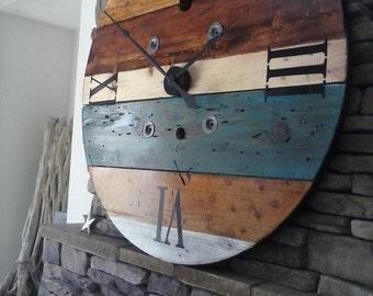 Oversized Wall Clock, Rustic Wall Clock, Huge Clock, Spool Clock, Wood Clock, Rustic Clock, Industrial Clock, Rustic Decor