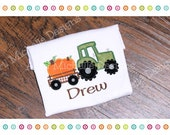 Fall Farm Tractor, Tractor with Pumpkins Shirt, Fall Tractor and Trailer, Fall Farm Shirt, Tractor Shirt, Personalized Fall Tractor Shirt