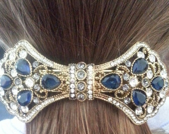 New Art Deco Sapphire  and Rhinestone Antique Gold Metal  Bow 3 '' Hair Barrette Lever Back