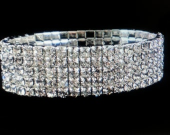 New Bridal Stretch  Rhinestone Crystal Stunning Cuff Bracelet