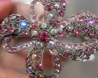 New Iridescent Crystal  Antique Silver Bow  3 1/2 Hair Barrette- Lever Back