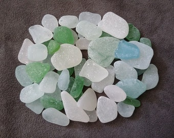 Bulk Sea Glass 50 pc Small & Medium Size, Different Shapes Excellent Sea Glass, Teal, Seafoam, Blue, Kelly Green Wedding Beach Glass ~ sg115