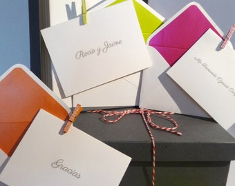 Letterpress Thank You Cards with Envelopes