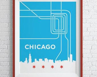 Chicago L Train Map Print / Chicago Loop Wall Art
