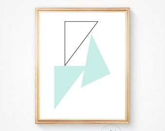 Triangle wall art, teal print, triangles, mint wall print, modern print, printable decor, triangle printable, mint digital poster,wall decor