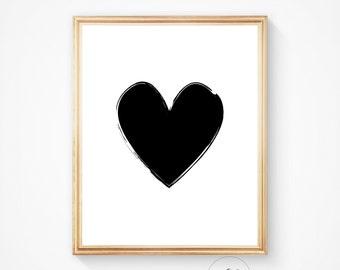 Anniversary gift, Scandinavian art, Geometric heart, heart decor, love printable, Heart poster, Heart wall art, Heart printable, Heart print