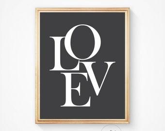 Love art prints, love print, love wall art, nursery print, nursery decor, love typography print, wall prints, black and white, digital print