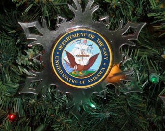 United States Navy Personalized Snowflake Ornament