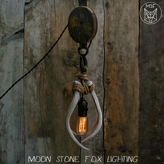 Items Similar To Rustic Light Pendant Lighting Pulley On Etsy: Pulley Antler Pendant Light Wooden Pulley By MoonStoneFox