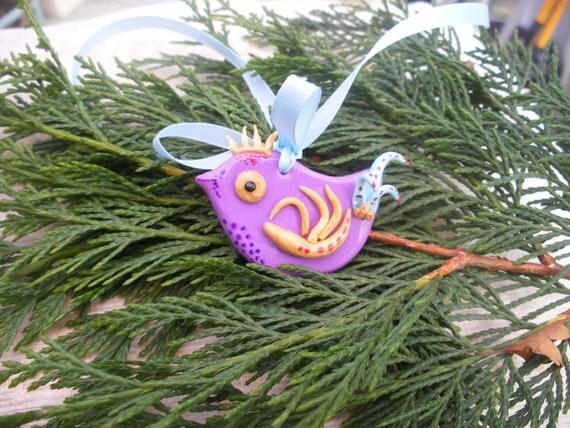 Gold Bird Christmas Tree Decorations : Birdie tree decor christmas bird purple gold by