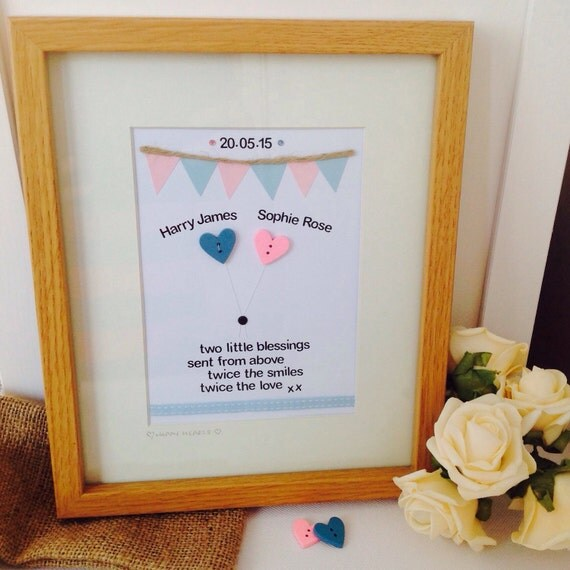 Personalised twin quote handcrafted frame personalised baby twin personalised twin quote handcrafted frame personalised baby twin frames personalised twin gifts from happyheartsdesignsuk on etsy studio negle Image collections