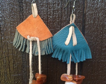 Funky Suede and Amber Beads Earrings