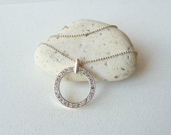 SALE,Silver Tone Rhinestone Hoop Pendant and Chain Necklace, Crystal Hollow Pendant, Rhinestone Hoop, Chain Necklace,Round Crystal Pendant