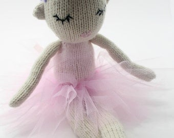 Knitted Doll Pattern - PDF Knitting Pattern, Hazel the Dancing Ballerina, Girls Gift Idea, Knitted Girls Toy