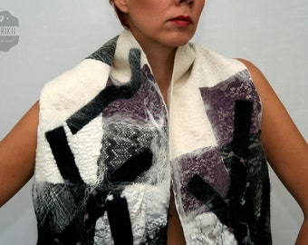 Felted Abstract Scarf Autumn Winter trend lace Nunofelt scarf collar wool Lacy Black-white purple Accessorie Best  Gift for her