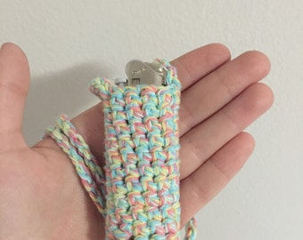 Lighter Holder Crochet Necklace Cozy