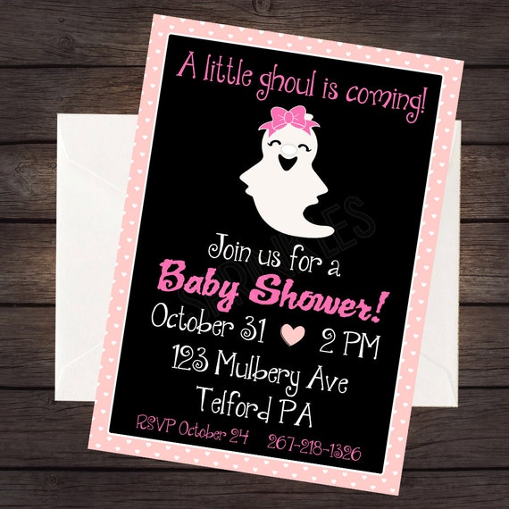 halloween baby shower invitation digital invitation file baby shower