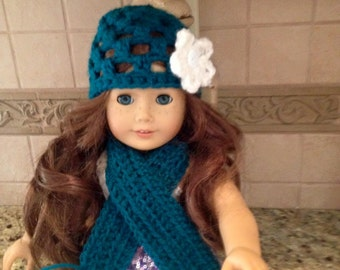 American Girl Doll Accessories: Crocheted Hat and Scarf