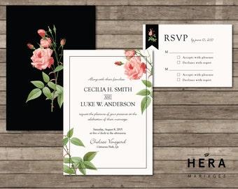 Printable Wedding Invitation Set  |  Invitation + RSVP  |  Botanical Collection | Flower, vintage, classic, black, white, pink, | Cecilia