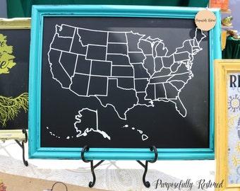 Chalkboard map etsy usa map w state borders chalkboard home decor framed chalkboard art gumiabroncs Gallery