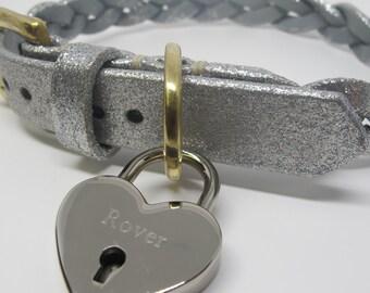 Personalised Silver Plated Heart Padlock Dog Tag