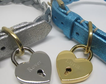 Personalized Gold Plated Heart Padlock Dog Tag