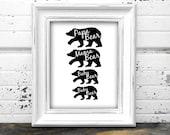 Mama Bear Papa Bear |Printable Wall Art  | Instant Download Wall Art