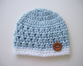 Newborn Boy Hat, Ready to Ship, Crochet Baby Hat, Baby Boy, Baby Newborn Beanie, Photo Prop, Newborn Hat, Baby Hat, Newborn Crochet Hat