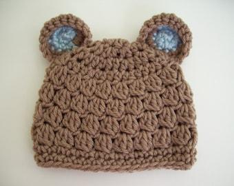 Baby Boy Bear Hat, Crochet Newborn Hat, Brown Bear Hat, Bear Beanie, Newborn Baby Hat, Photo Prop, Baby Boy, Baby Hat, Newborn Crochet Hat