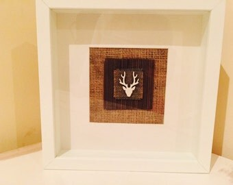 Handmade Wooden Stag Head Picture