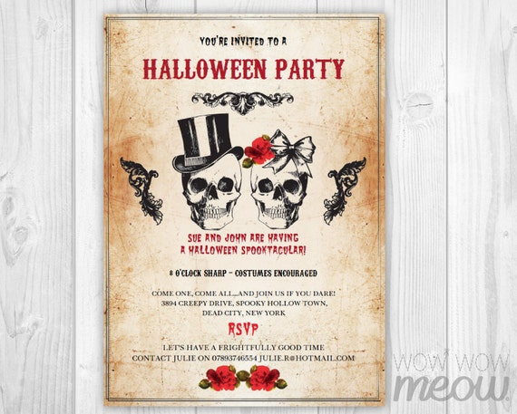 halloween invitation party printable instant by wowwowmeow