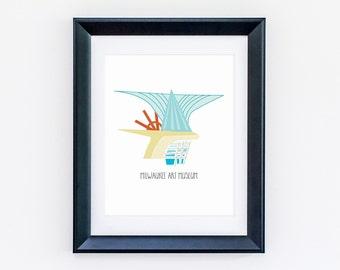 Milwaukee Art Museum - Wedding Gift, Wall Art Print - Wall Decor, Flat Design, Playful - Printable or Printed - Home, Art, Decor & More!