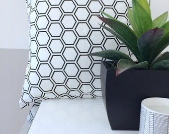 ContemporaryBlack and White Geometric Honeycomb Modern Pillow Cover 20x20