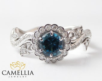 14K White Gold Blue Diamond Engagement Ring-Halo Engagement Ring