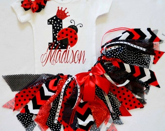 Ladybug Birthday outfit,First Birthday Outfit girl,Girls 1st Birthday Outfit,princess birthday,fabric tutu,cake smash outfit girl black/red