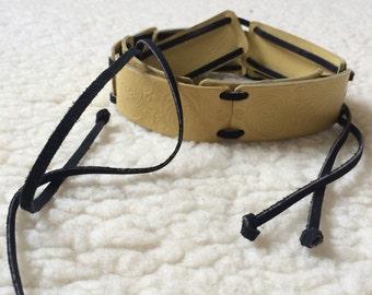 Celtic carved leather belt - tooled leather
