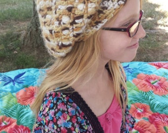 Ready to ship adult or teen slouchy hat.  Multi-colored slouch cap.