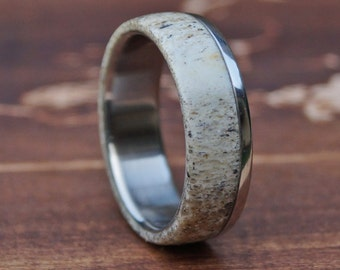 Deer Antler Ring, Stainless Steel Ring, Wedding Ring