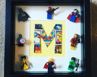 Marvel 3d Letter Frame with all 8 marvel lego mini figures great gift for boys room, office, man cave decor