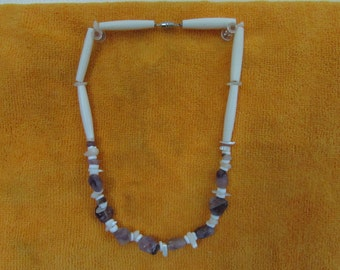 Hand Strung Amethyst and Bone necklace