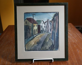 Vintage Artist signed Original Watercolor Painting Street Town Scene with Houses Gemmill