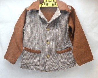 Vintage Boy's Tweed Jacket, Brown and Grey, Button Front with Pockets, Size 5, 1960s